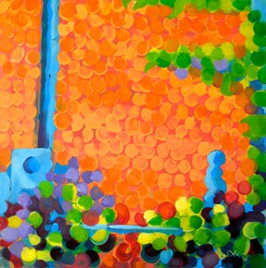 Brick Wall, oil on 8x8 panel by Pam Van Londen, Corvallis, Oregon