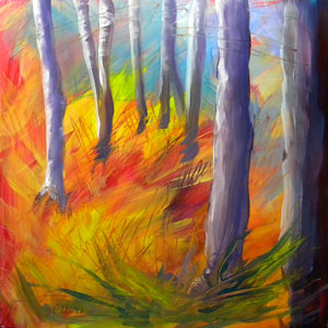 Aspen Grove 2, oil on claybord © Pam Van Londen 2011