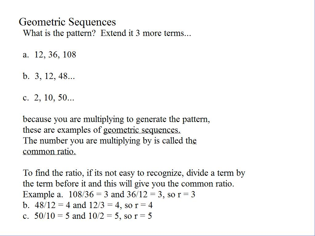 Geometric Sequences Examples Amp Practice Room 148