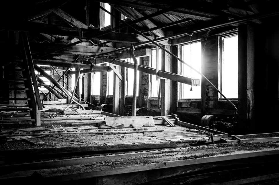 Shaker tables inside the concentration mill building at the abandoned Kennecott Copper Mill Town