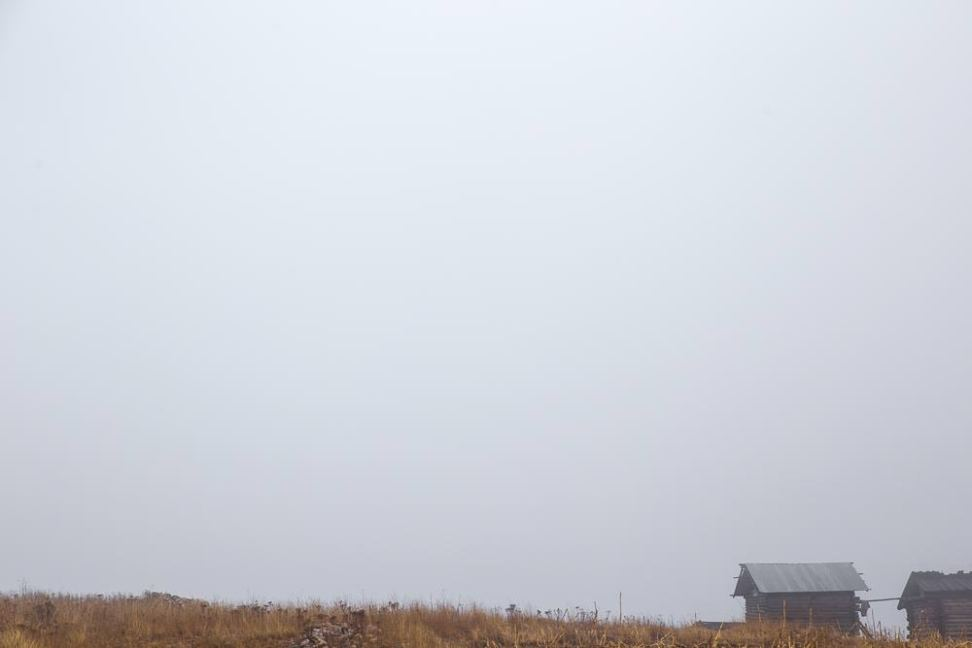 Misty farm house on the rim of the Copper Canyon.