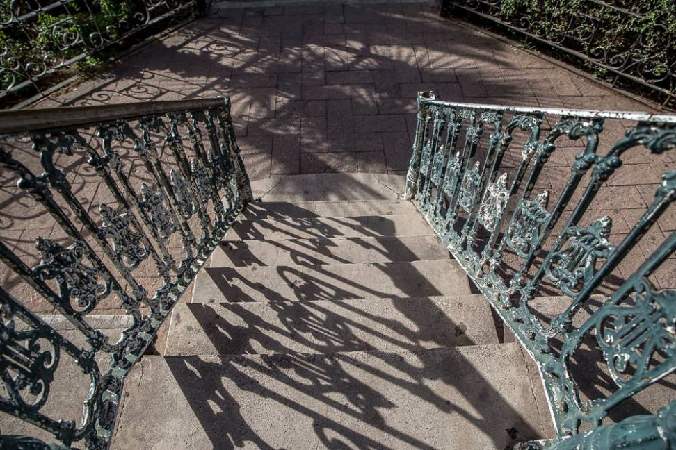Old ironwork in the central plaza.