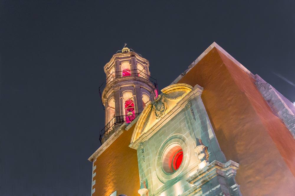 Brightly lit church.