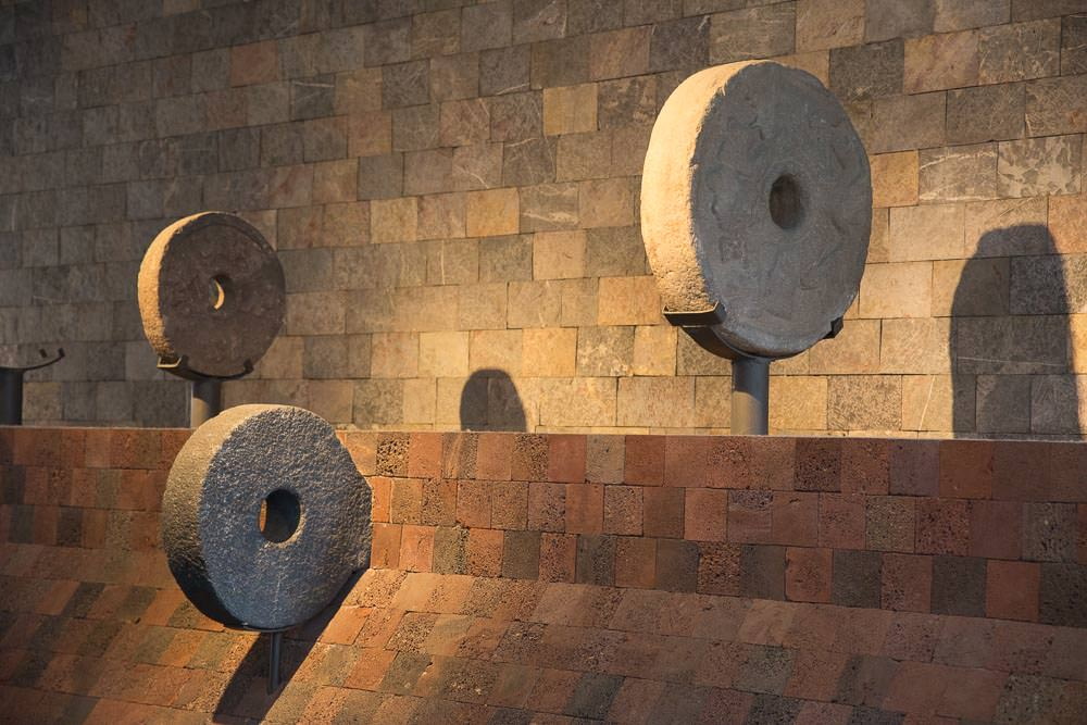 Just some stone hoops from the popular ancient pastime of deathball. They just call it 'the ballgame' on the signs. But we all know it is really deathball.