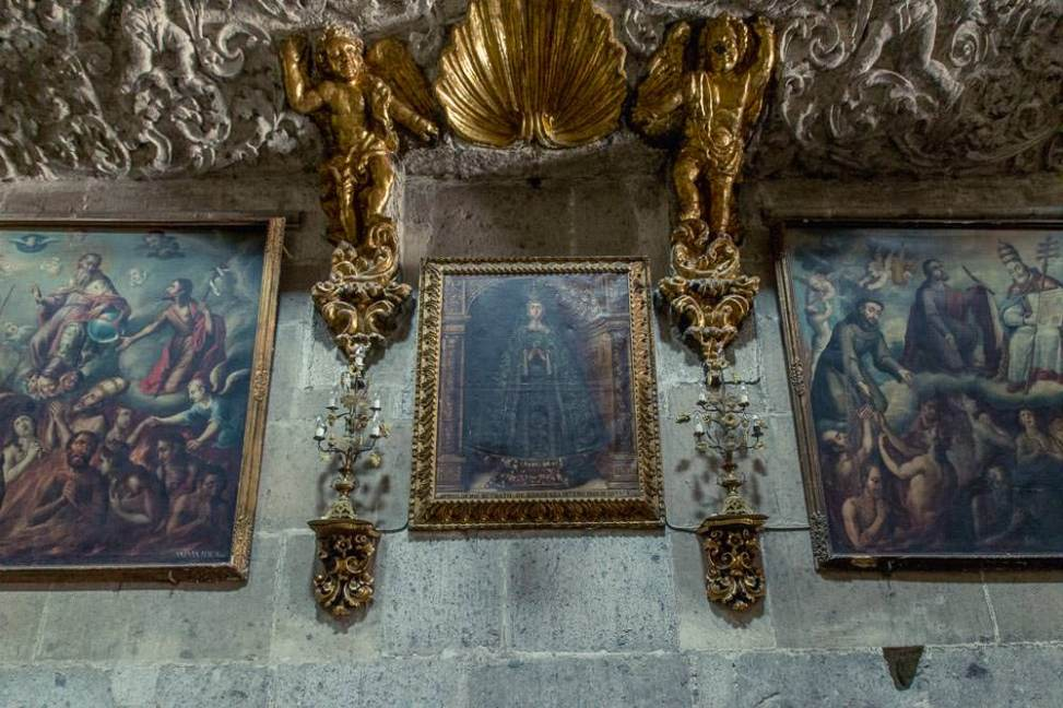 With all the grandeur around it is easy to overlook the many paintings hanging on the cathedral walls.