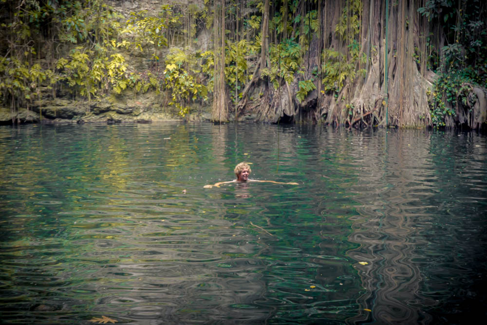 The water wasn't as clear as the previous cenotes we had visited.