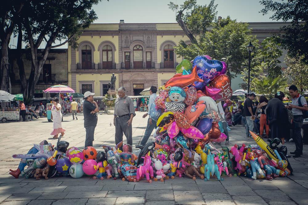 Vibrant balloon vendors.