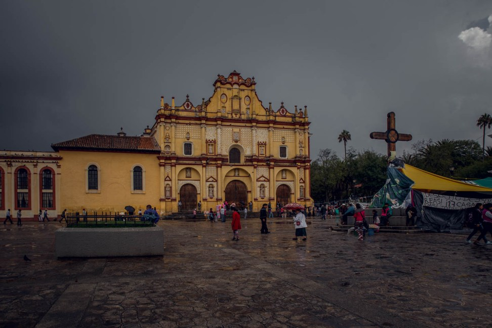 The church in the main plaza. You can see a few of the hardy protestors who were staging a sit in outside the church. Despite the relentless stormy weather.