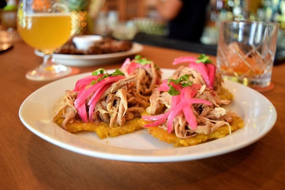 Patacones with ropa vieja