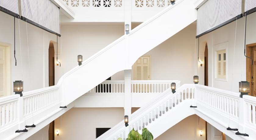 White stairs at the American Trade Hotel in Casco Viejo