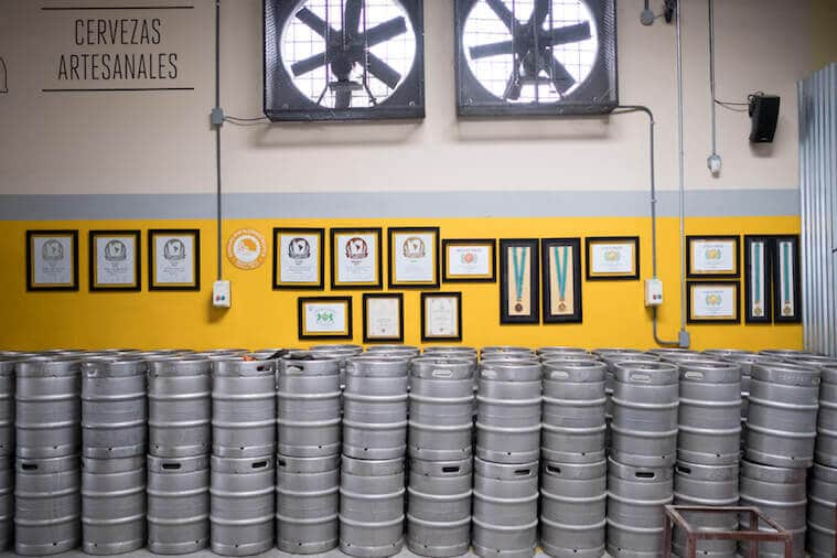 Awards won by La Rana Dorada are displayed in their brewery