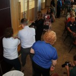Chamber members participate in a hands on activity where they learned tips on how to stay safe during an active shooter situation.