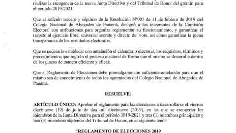 Resolución No. 001 (de 11 de abril de 2019)