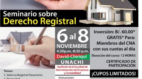 INVITACIÓN – SEMINARIO SOBRE DERECHO REGISTRAL