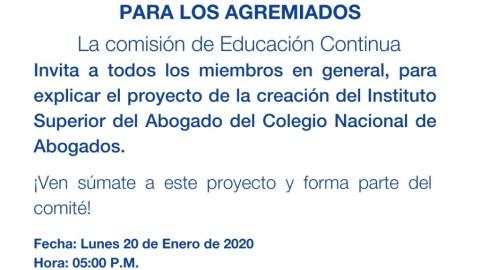 INVITACIÓN: Proyecto de la Creación del Instituto Superior del Abogado