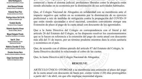EL COLEGIO NACIONAL DE ABOGADOS EXTIENDE DESCUENTO DE PAGO DE CUOTA 2020