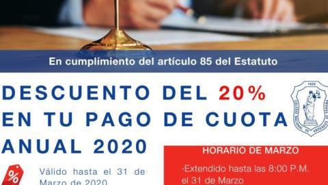 """DESCUENTO DEL 20% EN TU PAGO DE CUOTA 2020 """"HORARIO EXTENDIDO"""""""