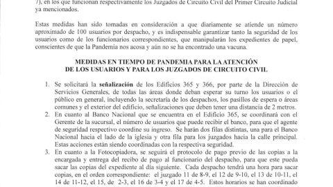 PROTOCOLOS DE LOS JUZGADOS DE CIRCUITO CIVIL PARA PRESERVAR LA SALUD