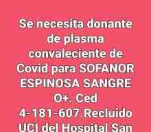 Se necesita donante de plasma convaleciente de Covid