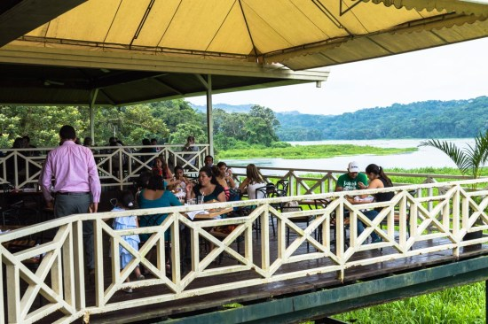 Los Lagartos is an covered outdoor restaurant with a view of a lagoon and the canal.