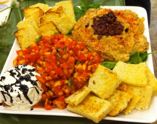 Goat cheese spread, fruit salsa, and white bean dip