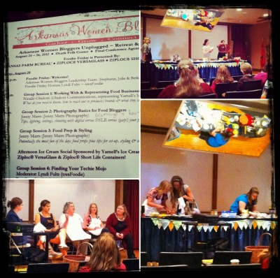 Four pictures of panelists at AWBU Foodie Friday