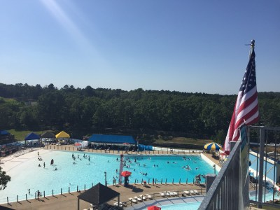 View from top of slide of wave pool