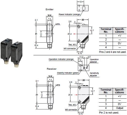 E3Z-T61 Omron Photoelectric Sensor Built-in Amplifier Sensor