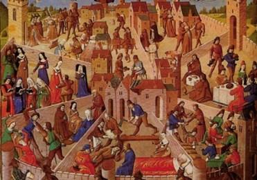 Ilustra‹o de um manuscrito do sŽculo XV de A Cidade de Deus, mostrando a contraposi‹o entre virtude e v'cios: pacincia e ira, diligncia e preguia e assim por diante- em suma, a Cidade de Deus e a cidade terrena. C: reprodu‹o HIst—ria do Pensamento Das Origens `a Idade MŽdia pag 152