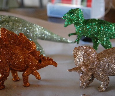glittered dinosaurs