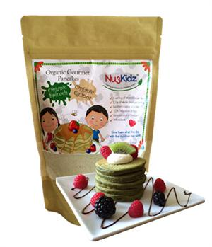 Organic Gourmet Pancake Mix with Spinach and Quinoa in resealable packet