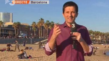 Dani Ramírez Hombres desnudo se cuela a presentación del clima en TV