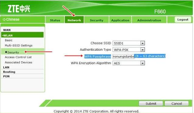 cara mengganti password wifi ZTE