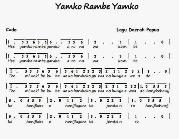 note lagu daerah yamko rambe yamko