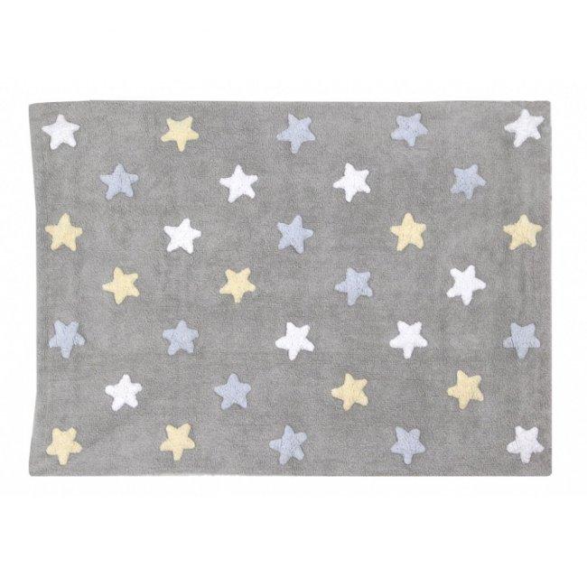 Lorena Canals Kinderteppich stars Grau,blau,weiss,gelb