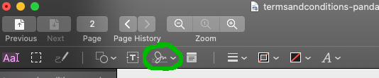 Press the signature button on the markup toolbar.