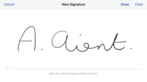 Sign your name with your finger on your iPhone.