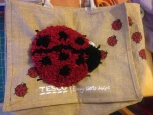 progged ladybird Tesco bag