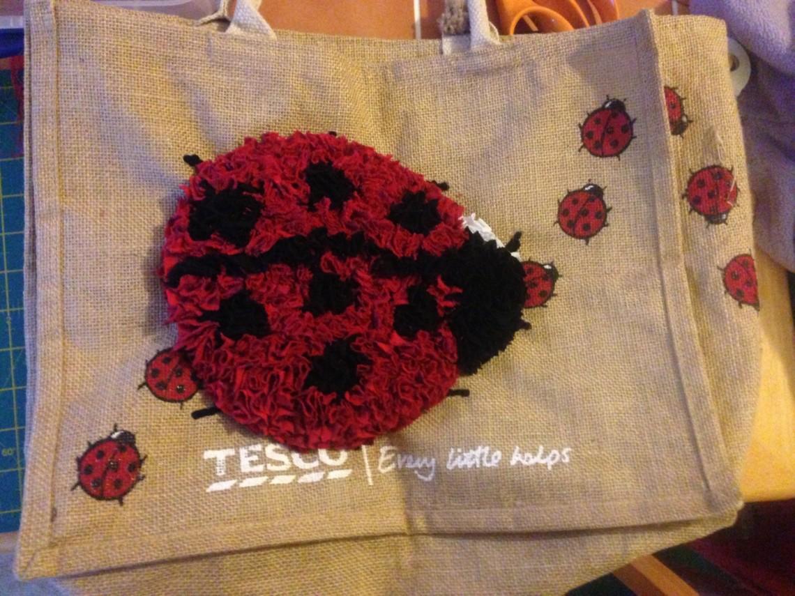 progged ladybird Tesco bag