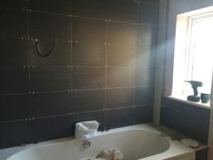 a bath in the bathroom