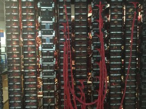 back of a reconstructed Bombe machine