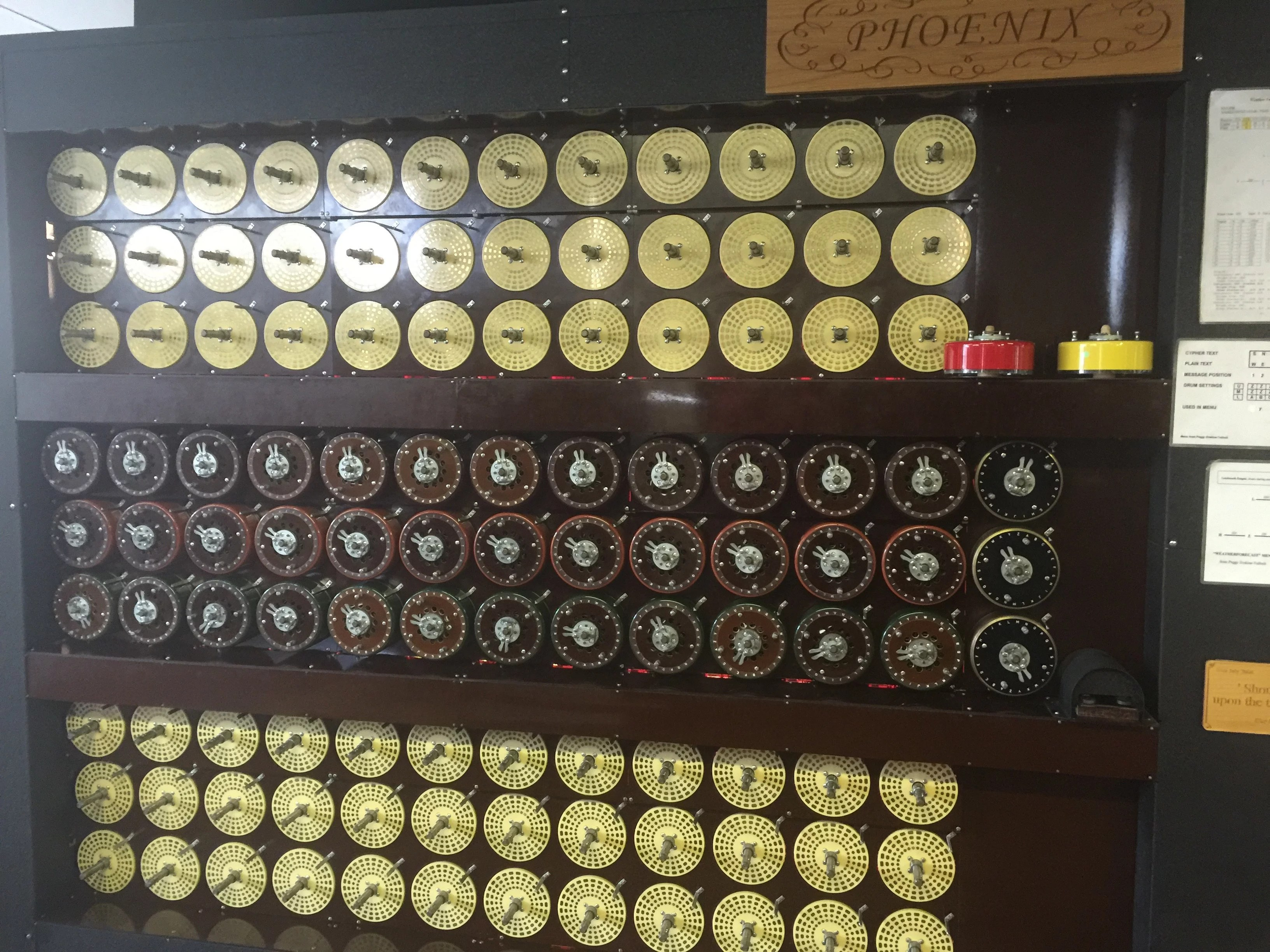 front of a reconstructed Bombe machine
