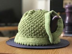 blackberry tea cosy in green: spout