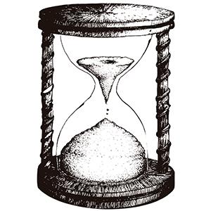 Reloj de arena en blanco y negro - Ilustración en vectores