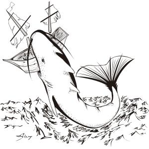 Monstruo marino atacando un barco