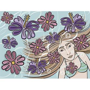 Mujer nadando - Ilustración en vectores