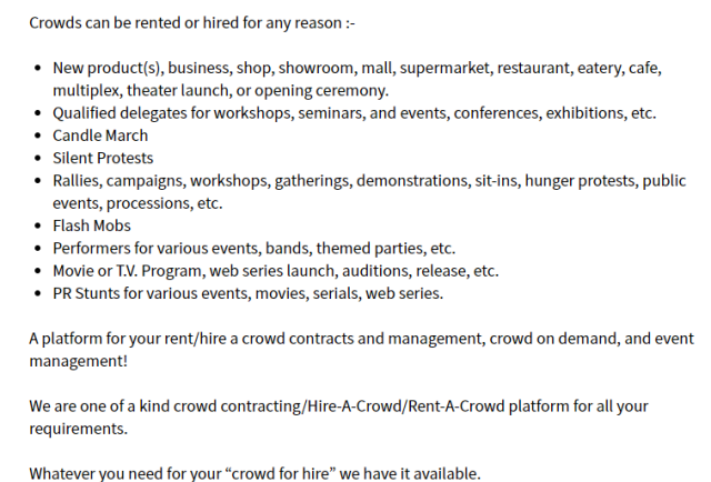 A screenshot fo bheed gnr8r- A rent-a-crowd service