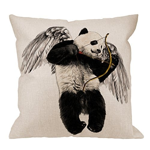 hgod designs panda pillow cover decorative throw pillow panda angel with wings and bow pillow cases cotton linen outdoor