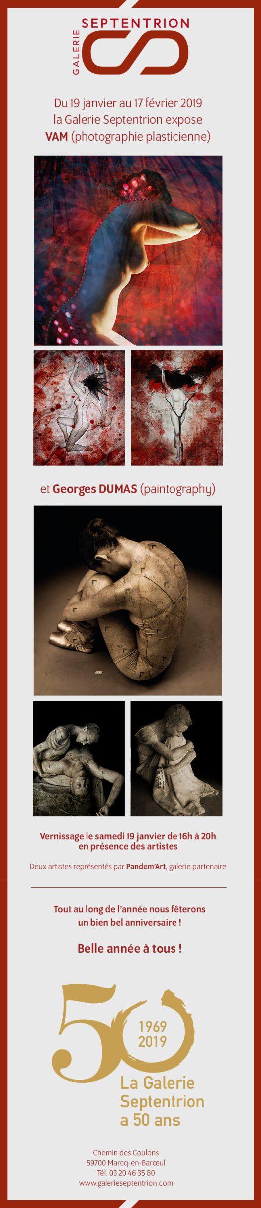 Flyer de l'exposition VAM et Georges DUMAS au Septentrion à Marcq en Baroeul - Vernissage le 19 janvier 2019
