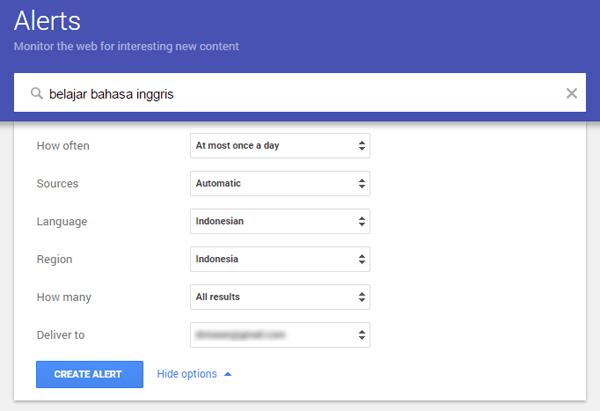 Pengaturan Google Alerts